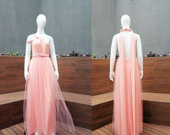 Blush Maxi Tutu Infinity Bridesmaid Dress, Long Convertible Gown, Tulle Transformer Party Dress, Tutu Boho Dress, Beach Party Dress