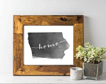"Iowa ""home"" Watercolor Print"