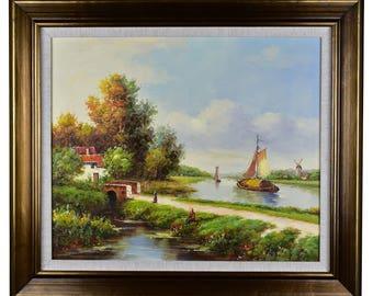 "Impressionism, Large Original Hand Painted Landscape Art, ""Dutch Serenity"" 30 x 25"