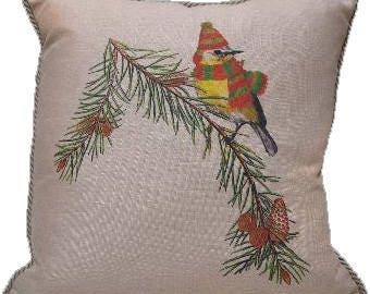 Holiday Chickadee Pillow