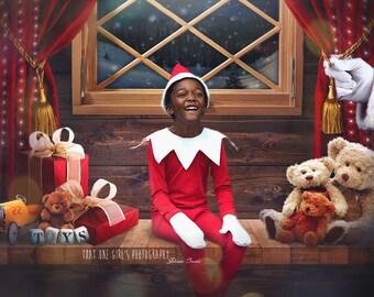 SALE!!! SANTA'S WORKSHOP backdrop / Christmas Digital Backdrops / Christmas Digital Background/ Elf Backdrop