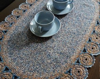 Large crochet oval multi colour table mat