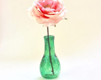 Handblown Glass Bud Vase - Green Glass Vase - Hand Blown Glass - Art Glass - Handmade in Savannah, GA