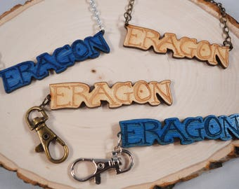 ERAGON wood pendant keychain and necklace! For ERAGON and Inheritance Cycle fans!