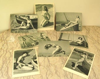 group of vintage 1950's French girlie post cards