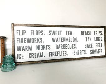 "Summer Word Sign, Large Sign, Summer Decor, Summer Farmhouse Decor, Summer Wall Decor, Farmhouse Style - Size: 35""x12"""