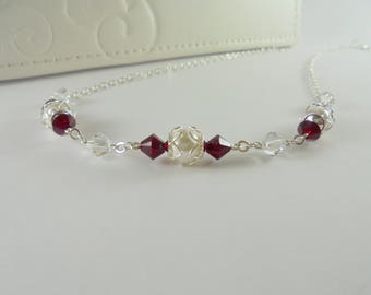 Silver Filigree Necklace, Red Crystal Necklace, Filigree Pearl Necklace, Red Swarovski Necklace, Red Silver Filigree Necklace, Red Necklace