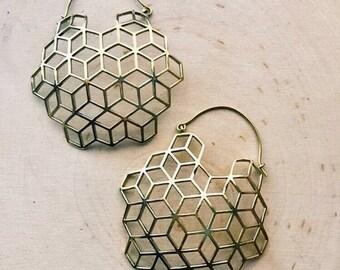 Geometric earrings, Asanoha , brass Earrings