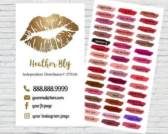 LipSense  Business Card      Color Chart      Printable   Download   Personalized
