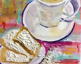 New Orleans art,Cafe du Monde,Cafe au lait and Beignets, NOLA, small paintings, Louisiana art, affordable art, acrylic paintings,Cajun Art