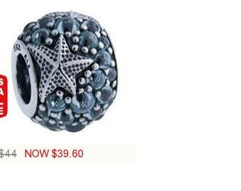 Pandora CharmsOceanic Starfish Charm Bead Frosty Mint CZ Authentic Pandora