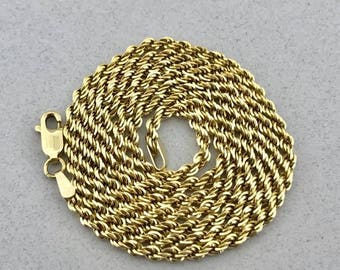 Gorgeous Solid 14k Yellow Gold Rope Chain Necklace! 24 Inches! 2.3 mm!