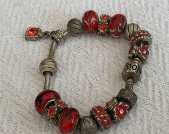 Red And Silver Charms Chain Bracelet