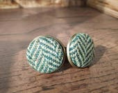 Harris Tweed Cuff Links - Green
