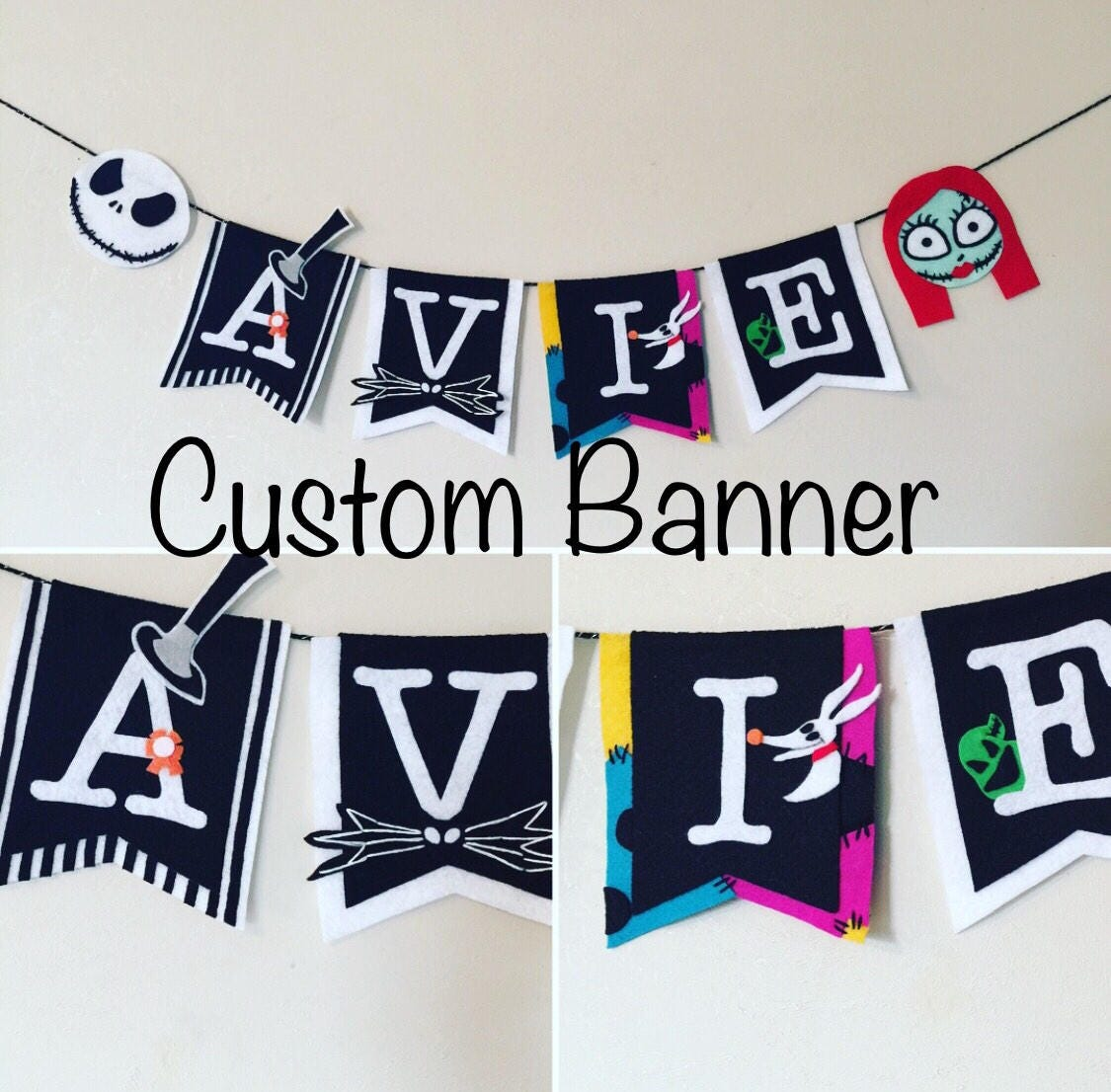 Nightmare Before Christmas inspired Custom banner for nursery, kid\'s ...