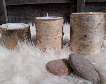 Set of 3 Silver Birch different size Rustic Wooden Branch Tree Tea Light Wood Candle Holders Wedding Christmas table decoration Perfect gift