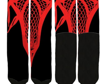 Red Lacrosse Socks - Lacrosse Crew Socks - Lacrosse Socks-Mens Lacrosse Clothing-Womens Lacrosse Clothing -Youth Lacrosse- FREE Shipping A03