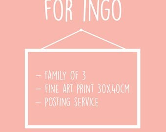 Personalised Illustration for a Family of 3 + Fine art print 30x40cm + posting service