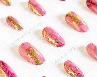 Press On Nails -Pink- Marble nails- Glue On nails - Faux Nails - Artificial nails- Holiday nails -false nails - Free International Shipping