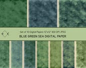 Digital paper pack, commercial use, watercolour texture, blue green sea, water background, instant download, printable JPEG, ocean forest