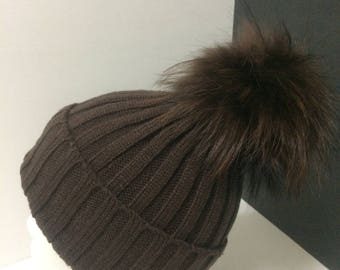 Fur Pom pom Hat, Brown Beanie, with removable Large Real Genuine  Raccoon fur Pom pom, fleece lined.