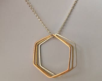 Geo Hexagon Necklace • Hexagon Charms on 20 Inch Silver Plated Chain Necklace • Rose Gold, Brass & Silver Hexagons • Geometric Necklace