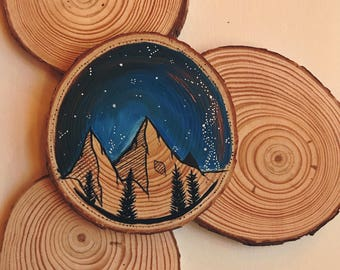 Tiny Thin Wood Slice || Blue || Mountain Painting
