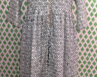 Vintage Indian Cotton Block Printed Dress Long Tunic Evening Maxi Beach Dress Casual Dress