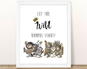 PRINTABLE Where the Wild Things Are, Let The Wild Rumpus Start, Baby Shower, Wild Things, Wild One Birthday, Wild Rumpus INSTANT DOWNLOAD