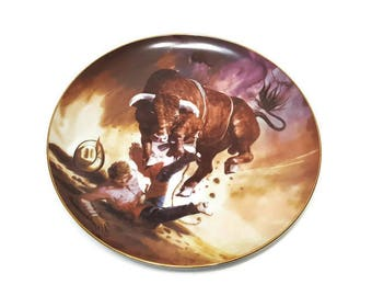The Bull Rider Goldcrown Ceramics Display Plate Painting by Tom McNeely Calgary Stampede Wild West Cowboy Western Farmhouse