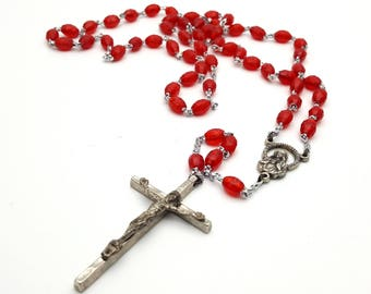 Vintage Rosary Red Lightweight Faceted plastic Beads Jesus Crucifix Cross Antique First communion Prayer Confirmation Wedding Italy Italian