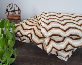 "Vintage King Size Afghan Blanket Heavyweight Very Large 184"" x 106"" Textured Heavy Bedding Bed Coverlet Bedspread Cream Beige Brown 70s"