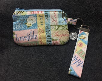 Coin Purse with Removable Strap - Inspirational Print