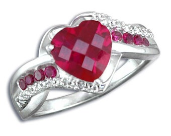 925 Sterling Silver Heart Shape Ruby with 0.05 ct. Round Ruby and Diamond Ring
