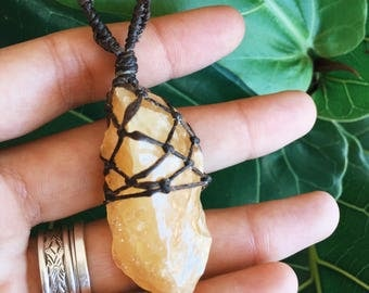 Raw Yellow Calcite Necklace