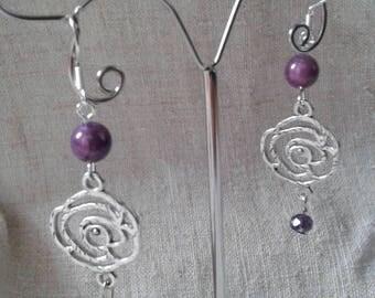 Silver and purple flower earrings