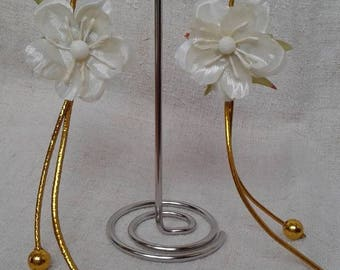 Ivory and Gold Flower Earrings