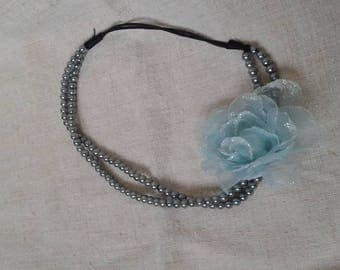 cute headband blue flower and pearls