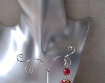 """""""big red printed Pearl"""" earrings"""