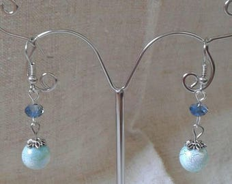"Earrings ""blue cracked bead"""