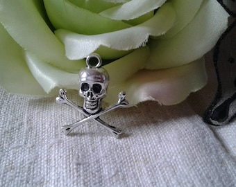 """set of 5 """"death's head"""", metal charms"""