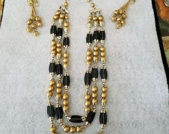 Vintage Gold/Black Necklace and Earrings