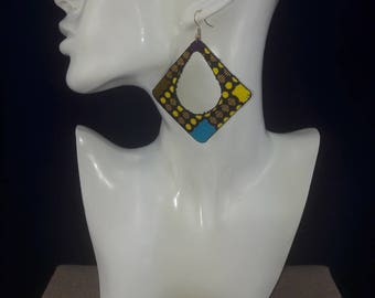 Earrings green and yellow African fabric