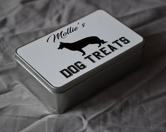 PET Lover Gift. Personalised Alsation Dog Treat Tin. Personalise With Your Pets Name