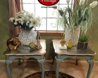 Upcycled Pair (2) Vintage Elegant End Tables