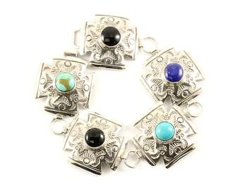Vintage Multi Color Stones Link Bracelet Sterling Silver BR 3090