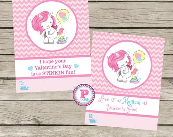 Kid Valentine's Day Cards Unicorn Party Pooper So Stinkin Fun Unicorn Poo Poop Pastel Magical Pink Rainbow Instant Download