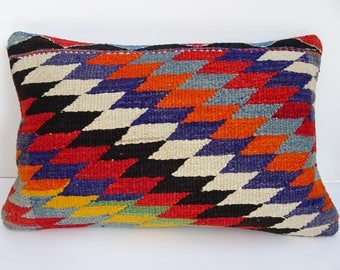 Turkish Kilim Pillow,24x16 inch 60x40 Cm Handmade Colorful Turkish Kilim Rug Pillow Cover,Traditional Kilim Pillow Lumbar,Lumbar Pillow.
