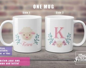 sheep mug, gift for sheep lover, custom name mug, initial mug, wreath mug, gift for her, sheep present