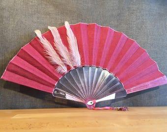 Pink linen, feathers, crystal resin, pearls, Fan FIIR